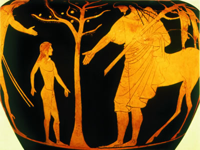 Peleus delivers the boy Achilles into the foster care of the Cheiron